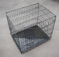 case foldable black color pet crate with two doors dog crates sale