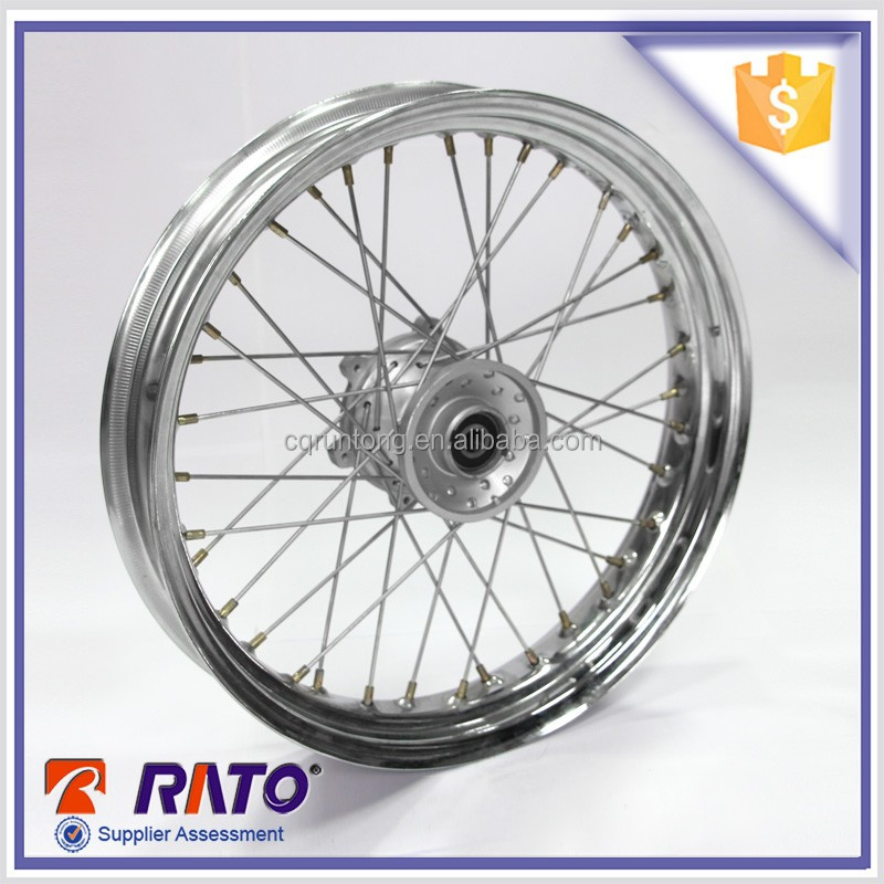 Motorcycle factory wholesale 2.5-17 chrome plated steel motorcycle wheel