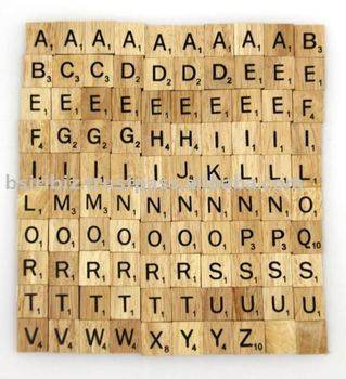 Wooden alphabet tiles scrabble tiles