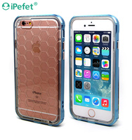 Transparent Soft TPU case with metallic poly carbonate bumper Case For iPhone 6