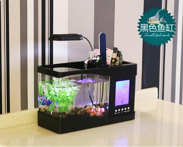 Small usb electric desktop aquarium fish tank for office for Electric fish tank
