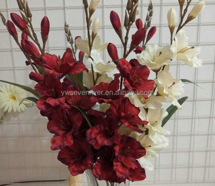 Decoration fake flowers artificial white Gladiolus flower