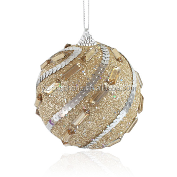 christmas breakageproof light gold sequins christmas glitter ball