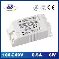 6W 500mA 12V AC-DC Constant Voltage Waterproof LED Driver Power Supply with CE TUV UL CUL approved