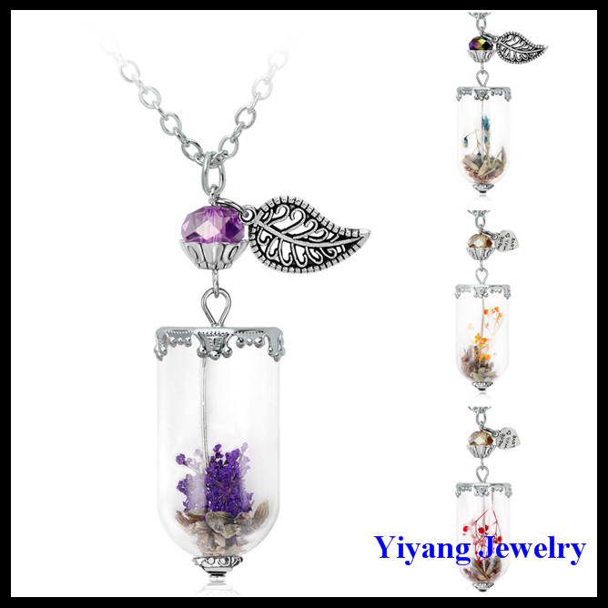 Newe Jewelry Dried Flower Glass Perfume Bottle Necklace