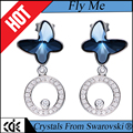 CDE crystals from Swarovski factory wholesale 2017 fashion jewelry 925 sterling silver charm blue stone butterfly earring