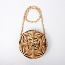 2018 intenational top fashion for summer travelling holiday circle wheel shape leisure popular straw bamboo bags