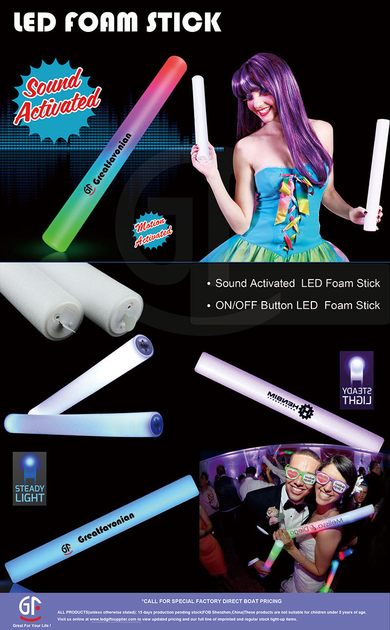 High Quality Colorful Flashing Sound Control Led Foam Baton Stick