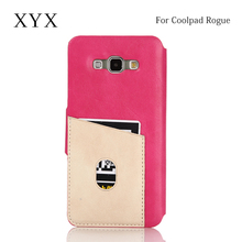 bright luster express mobile contrast colors leather backside card slot for coolpad rogue flip cover