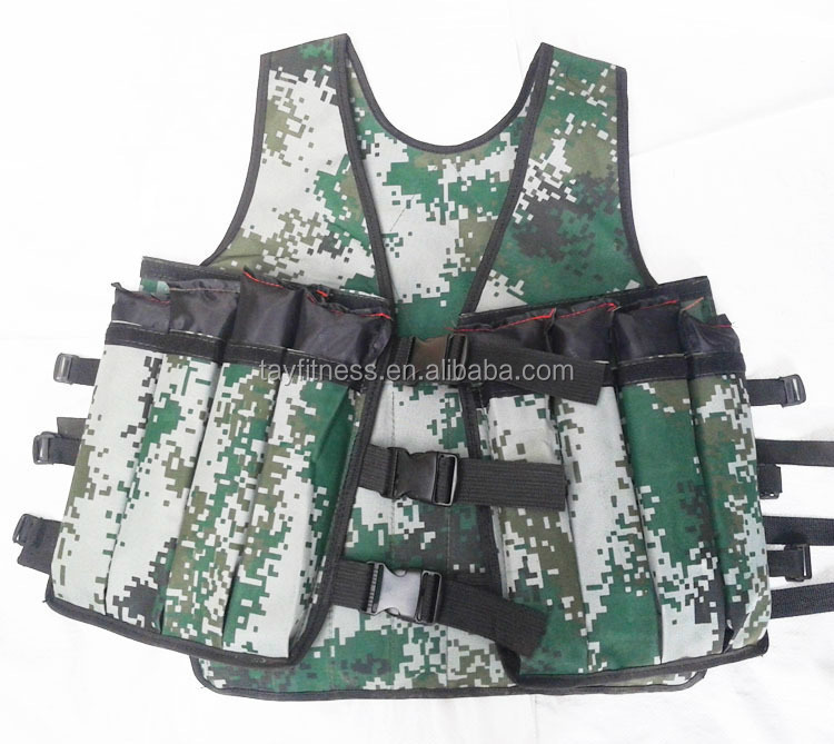 Camouflage color Adjustable Muscle power training fitness weight vest for men
