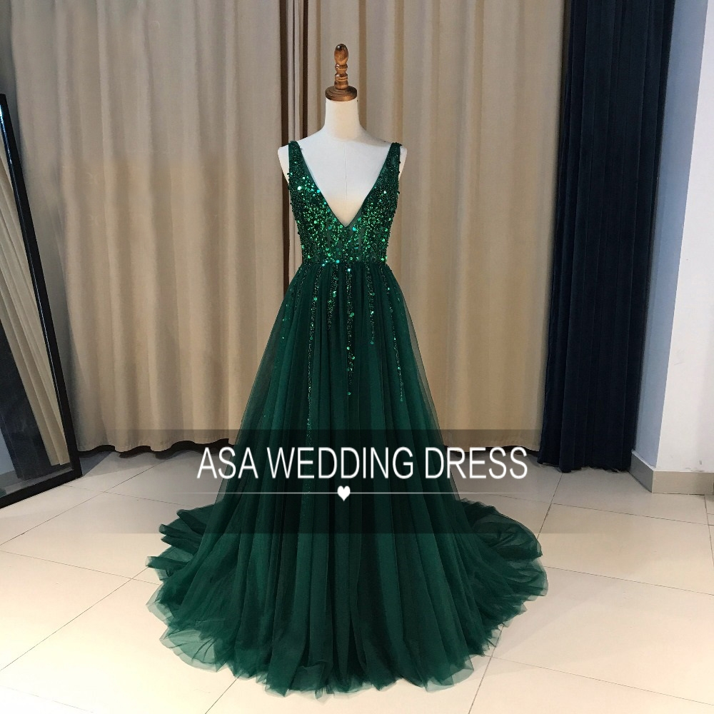 SEYY01 Real Photos Sexy Skirt with Slit Soft Tulle V Neck Beaded Girls Prom Party Long Evening Dress 2018