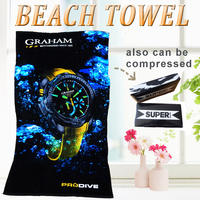 2016 new 100% cotton velour reactive custom design promotional printed beach towel