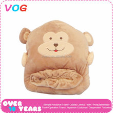 Wholesale OEM high quality cartoon winter plush animal head shaped soft hand warmer pillow