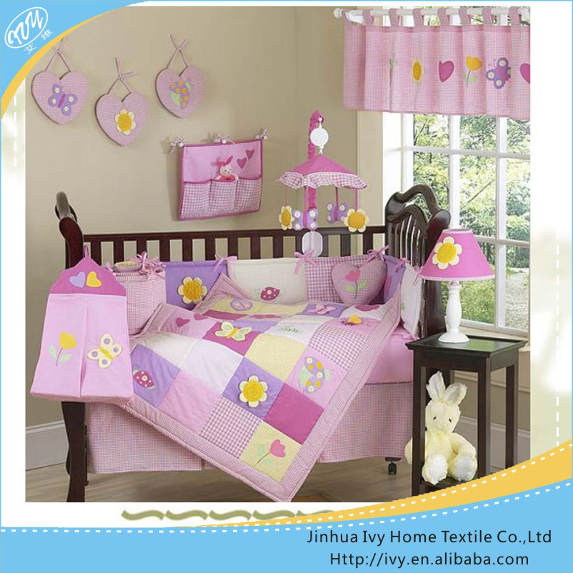 Cute fuchsia pink baby bedding <strong>set</strong> girl