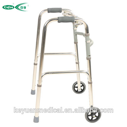 Cofoe Aluminum alloy medical foldable mobility walking aids /walkers with wheels for stroke patients