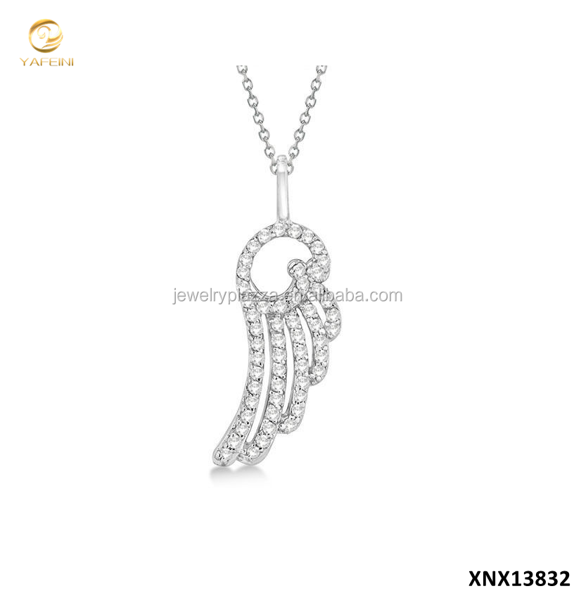 YFN Name Brand Fashion Jewelry 925 Sterling Silver Pave Angel Wing Pendant Necklace