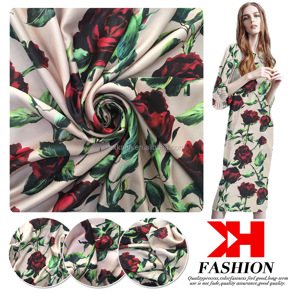 Beautiful flower printed clothing lots for sale cloth material satin fabric