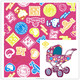 PU Coated 300D Polyester Oxford Cartoon Print Fabric For Baby Stroller