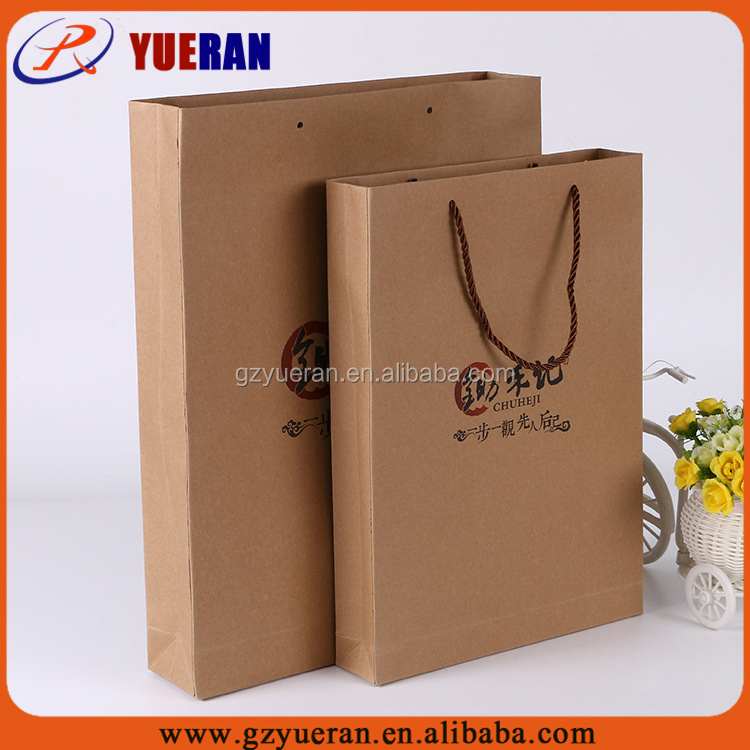 Custom cheap small white brown kraft paper bags, brown paper bags printing wholesale with ribbon
