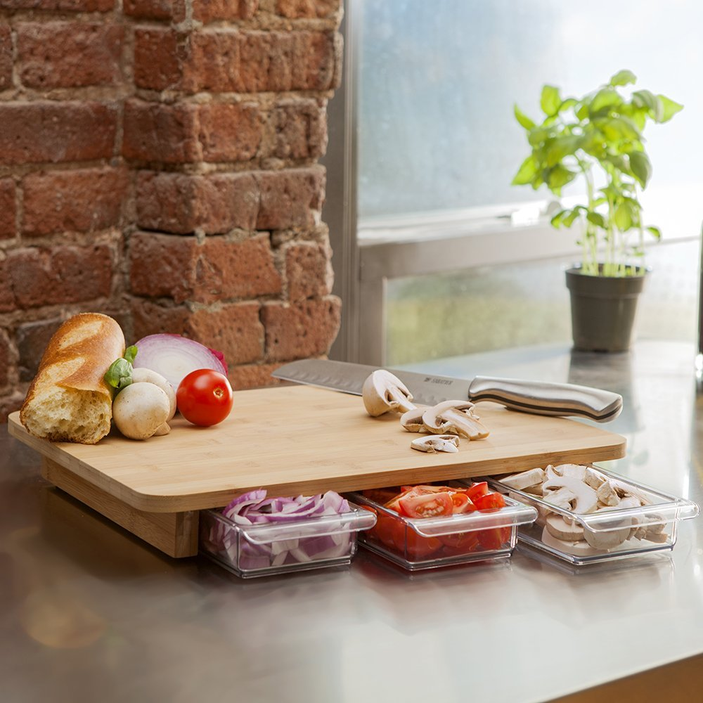 bamboo cutting board set with three food prep containers