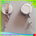 Custom logo high quality chrome plastic electroplate retractable badge reel