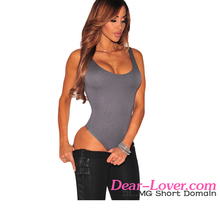 Ladies New Fashion Casual scoop back womens bodysuit tops