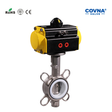 COVNA Soft Seal Ring Stainless Steel Pneumatic Head Wafer Butterfly Valve