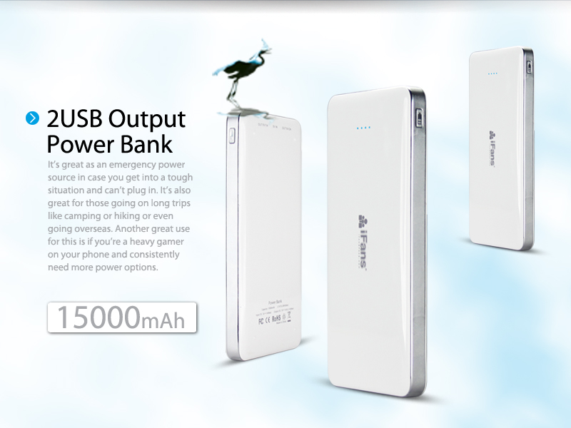 iFans Hotsale Rechargeable Portable Power bank 15000 mAh For tablet PC, Iphone,ipad,ipod
