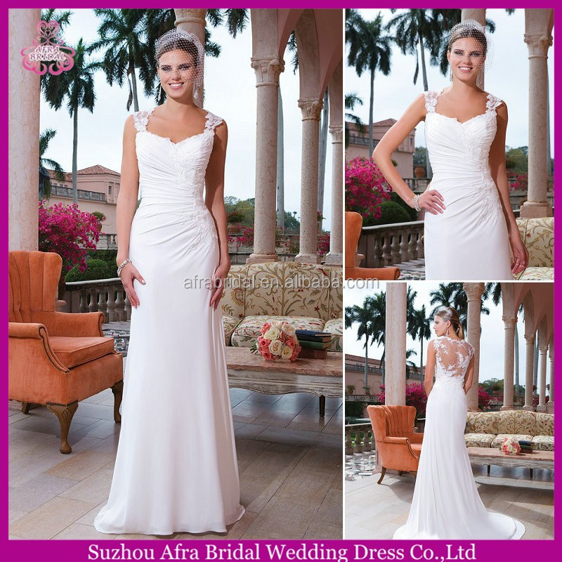 SD2243 sheer covered back chiffon wedding dress beach wedding dresses country style