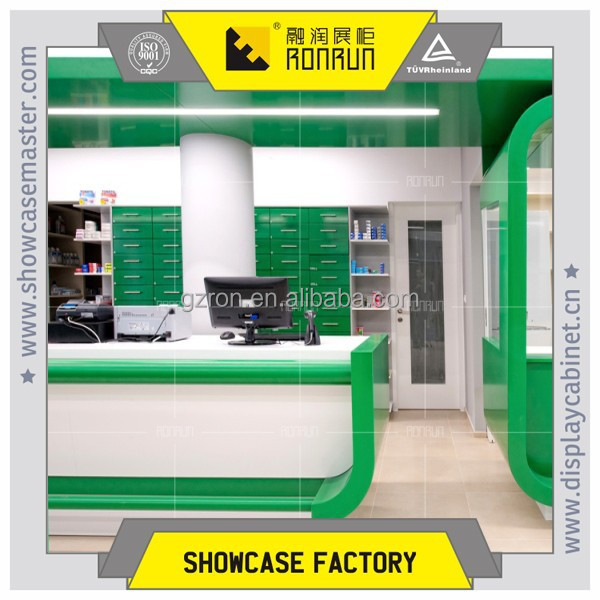 Dispensary center cashier counter, dispensary shop cashier desk, dispensary store cashier table