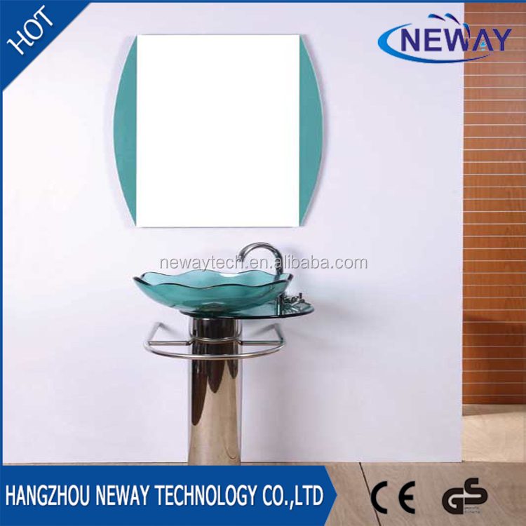 Simple design floor standing glass colored washbasin