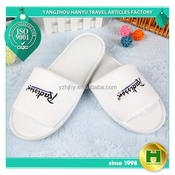 Fine Polyester Velvet Pile Hotel Slippers / Fashion Velour Pile Open Toe Traveling Slippers / Breathable Brushed Fabric Slippers