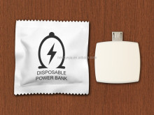 2016 Condom package one time disposable wireless power bank charger for iphone
