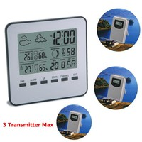Digital Wireless Weather Station to Monitor Indoor Outdoor Temperature Humidity Thermometer Time Weather Forecast Alarm Clock