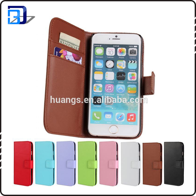 For iphone 6 leather phone case book style flip wallet card slots mobile case cover in stock