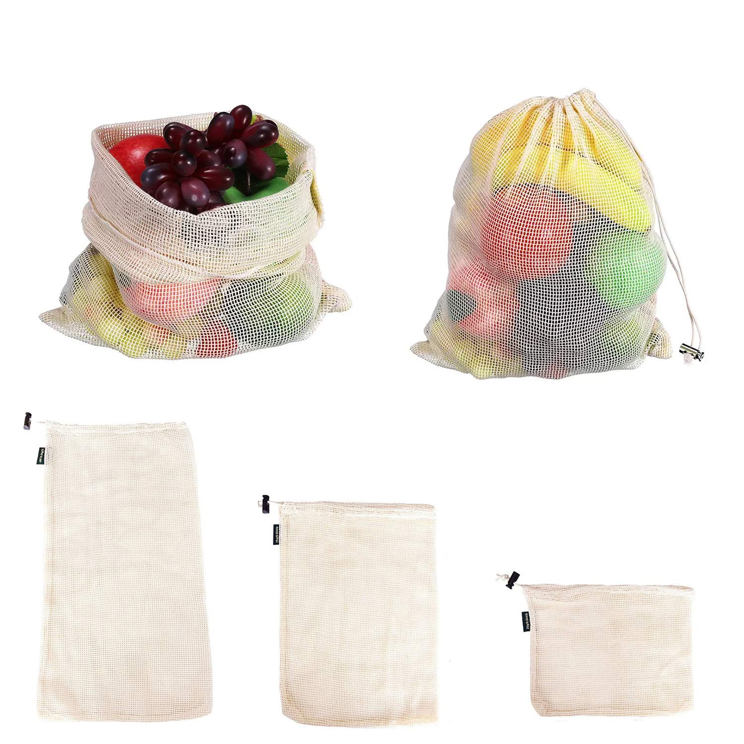 10pcs Mesh Shopping <strong>Bag</strong> Cotton Market Net Shopping Tote Washable Mesh Fruit Vegetable Pack storage