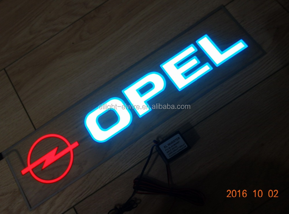 Special customized High Quality&High Brightness 400mmX100mm EL light OPEL Car Logo For Car Rear windshield