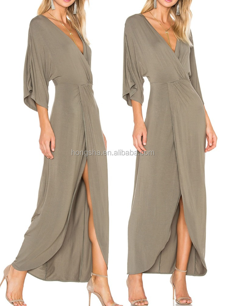 New Design Twist Wrap Front Sexy Nighty Long Sleeve Maxi Dress Long Jersey Dresses 2016 HSD5531