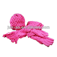 knit glove,hat,scarf/fashion knit set/knitted scarf sets