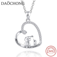 Lucky Elephant Design CZ Rhodium Plated 925 Sterling Silver Chain Necklace for Mother's Day Gift