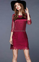 New Fashion Ladies Dress 100% Silk Satin Polyester Lace Mid Long Sleeve Red White Black Dress for Women