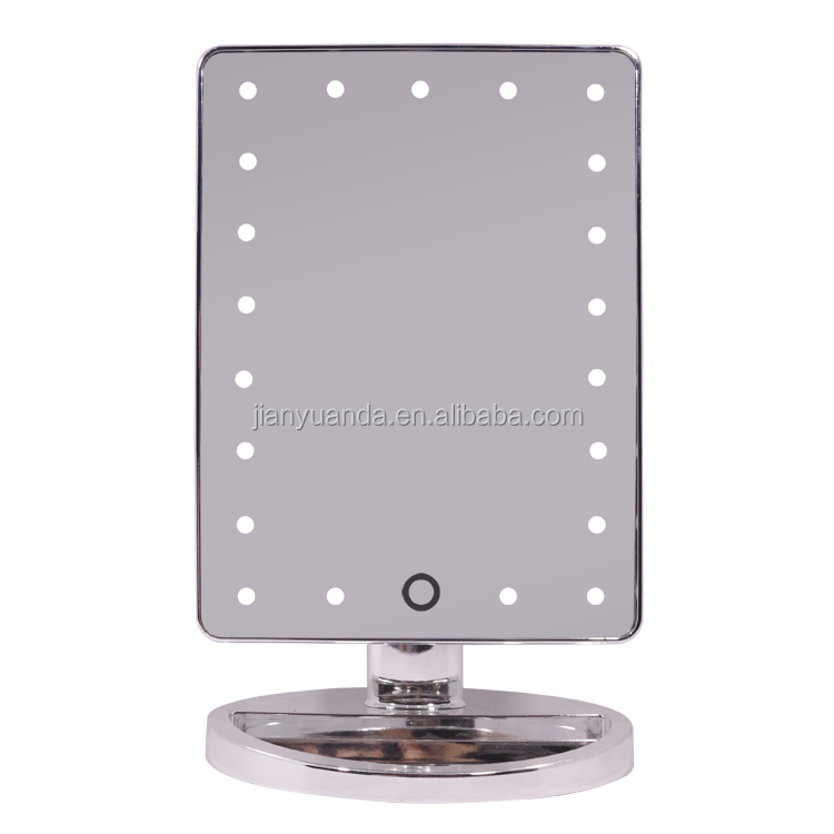 Metal color 21Pcs Lights 180 Degree Free Rotation Table Countertop Cosmetic Vanity Make Up Mirror Led Light