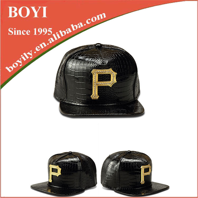 New 2016 china hat manufacturer costomized leather brim p cap
