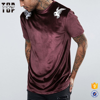 High quality man clothes eagle embroidery design velour men longline curved hem t shirts