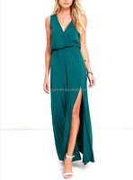 MIKA5073 Fashion Women Green Sexy Party Maxi Dress