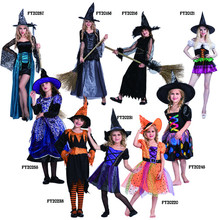 Girls Halloween Clothes Kids Shorts Sleeve Gauze Witch cosplay Costume Children Clothing Dress+Hat 2pcs Suit