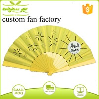 customized design fabric hand held folding fans with plastic