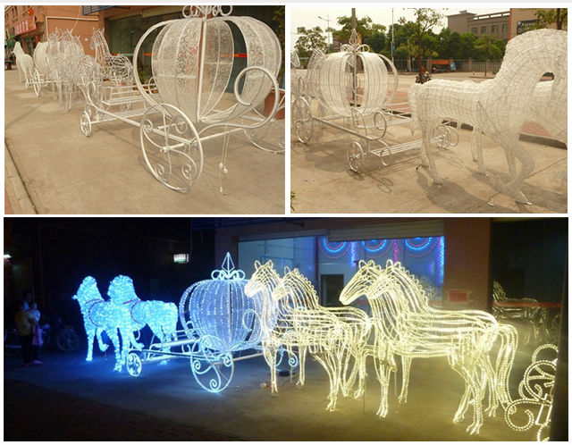 christmas light sculpture christmas light sculpture direct from shenzhen reson technology co ltd in china mainland - Christmas Lighted Horse Carriage Outdoor Decoration