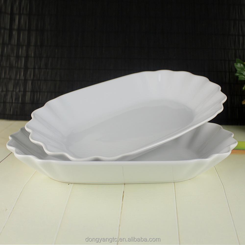 "12"" inch sea shell waving fluted edge sea food oval shape ceramic design dinner serving buffets creative hotel restaurant plate"