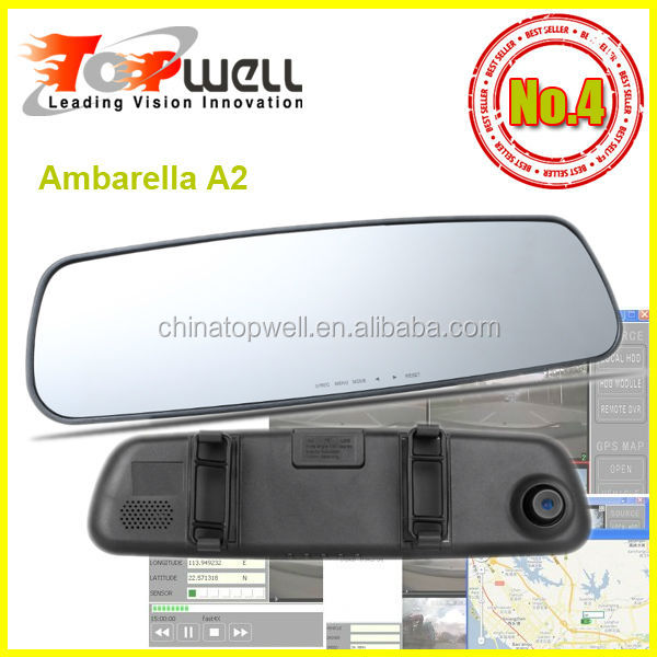 2014 Hot Ambarella A2 chip H.264 30fps 1920*1080 1080P Full HD 120 Degree 2.7'' Clip On Mirror Car Camcorder,with or w/o GPS